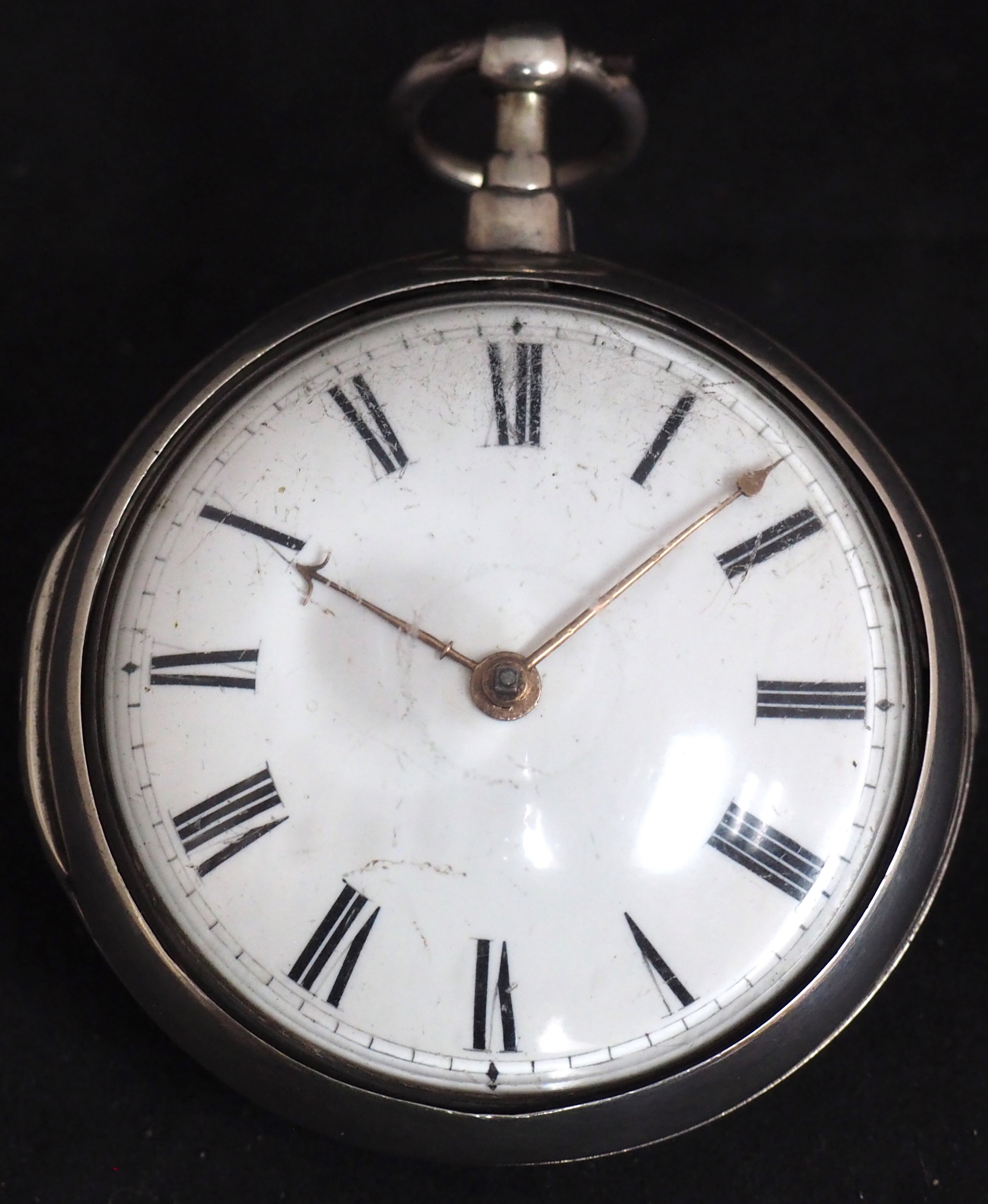 good antique silver pair case pocket watch fusee verge escapement key wind enamel dial robinson london