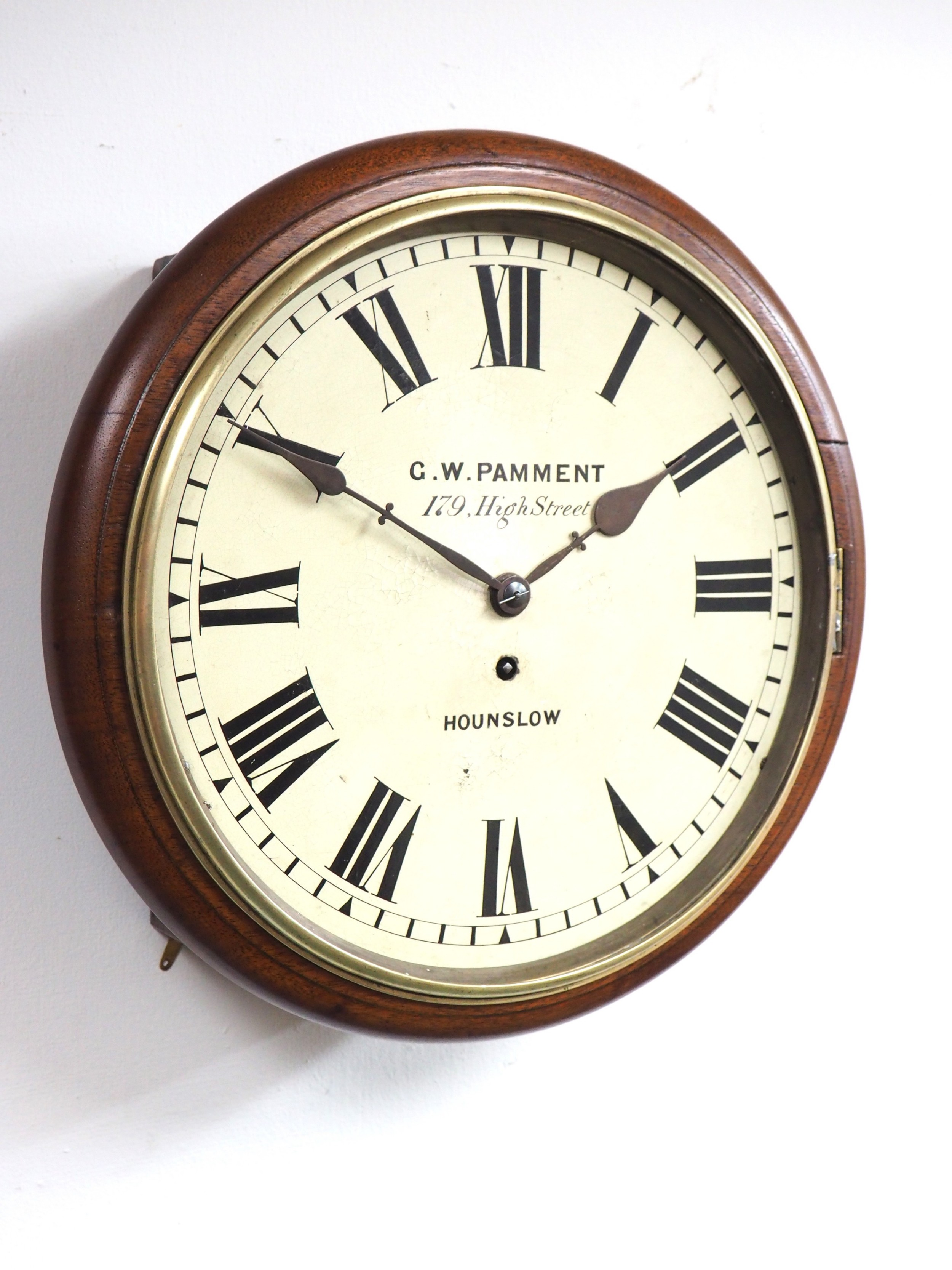 rare english fusee 12 inch dial wall clock mahogany station public school clock signed g w pamment hounslow