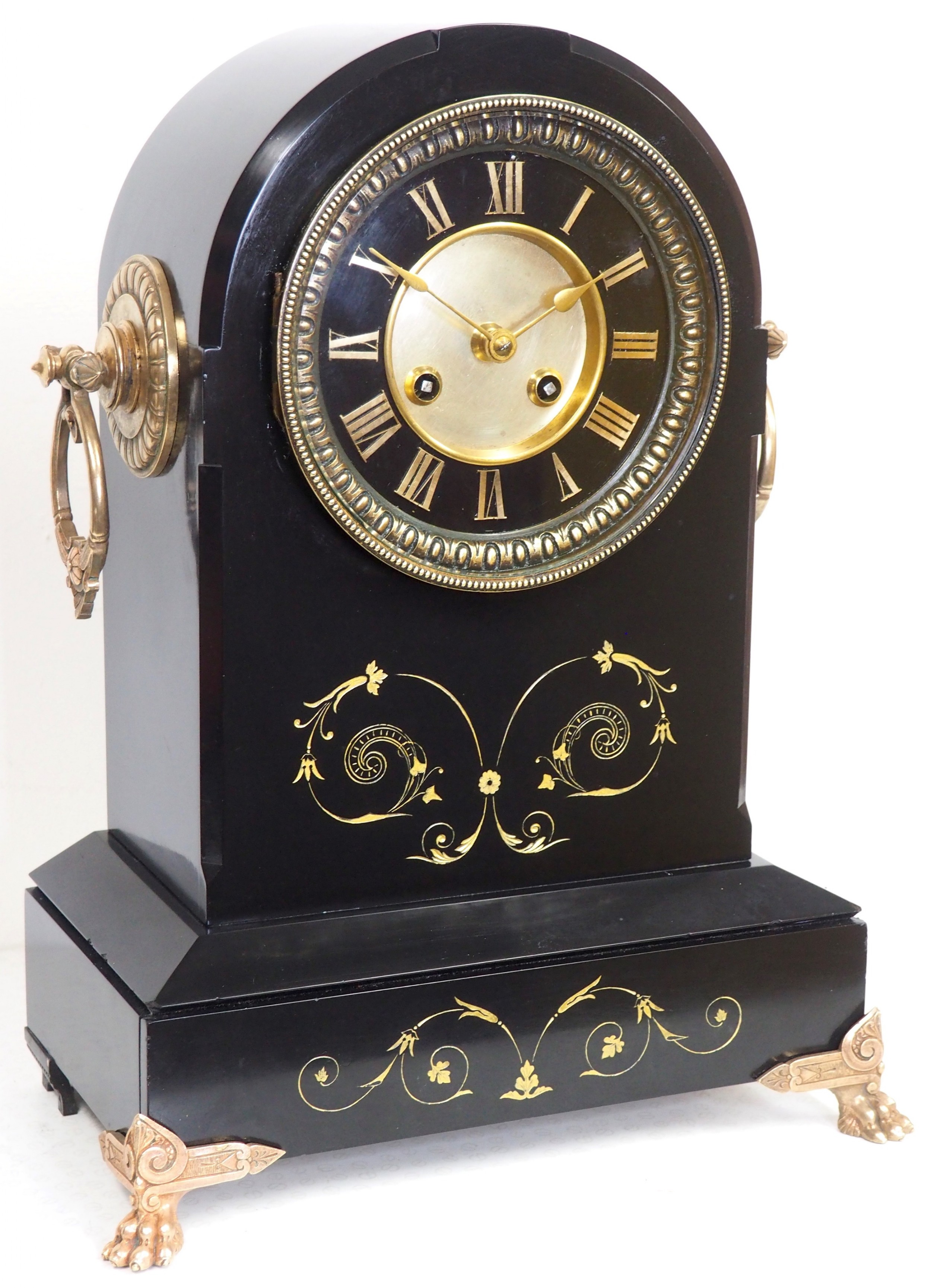 antique french slate mantel clock 8day arch top striking mantle clock with gilt decoration