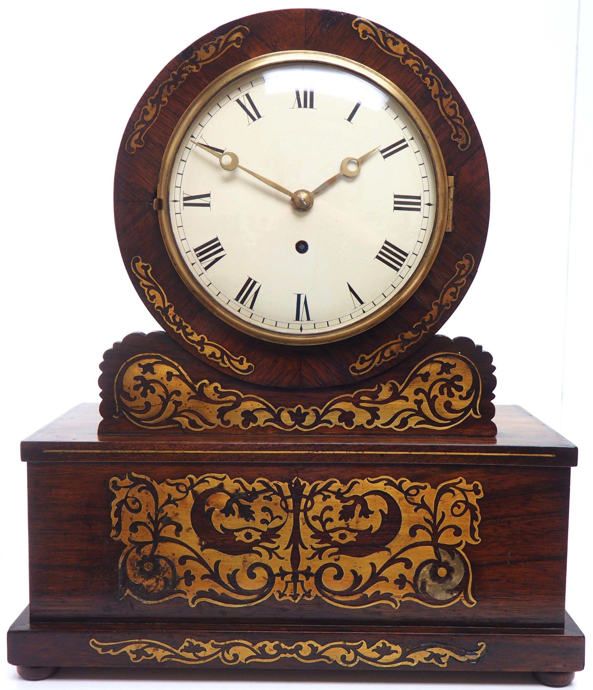 a fine english regency rosewood fusee mantle bracket clock