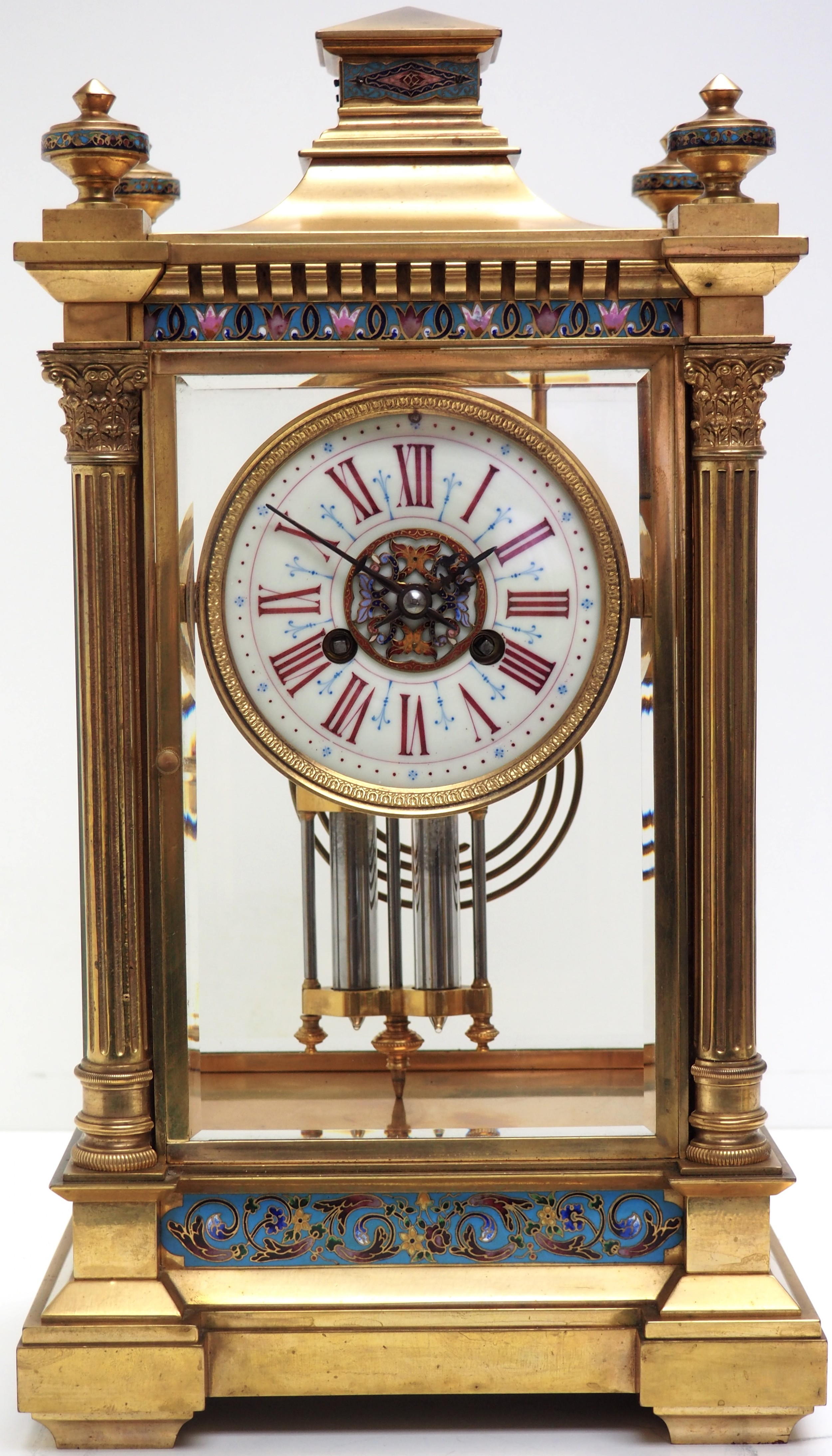antique french table regulator with compensating pendulum 8 day 4 glass mantel clock