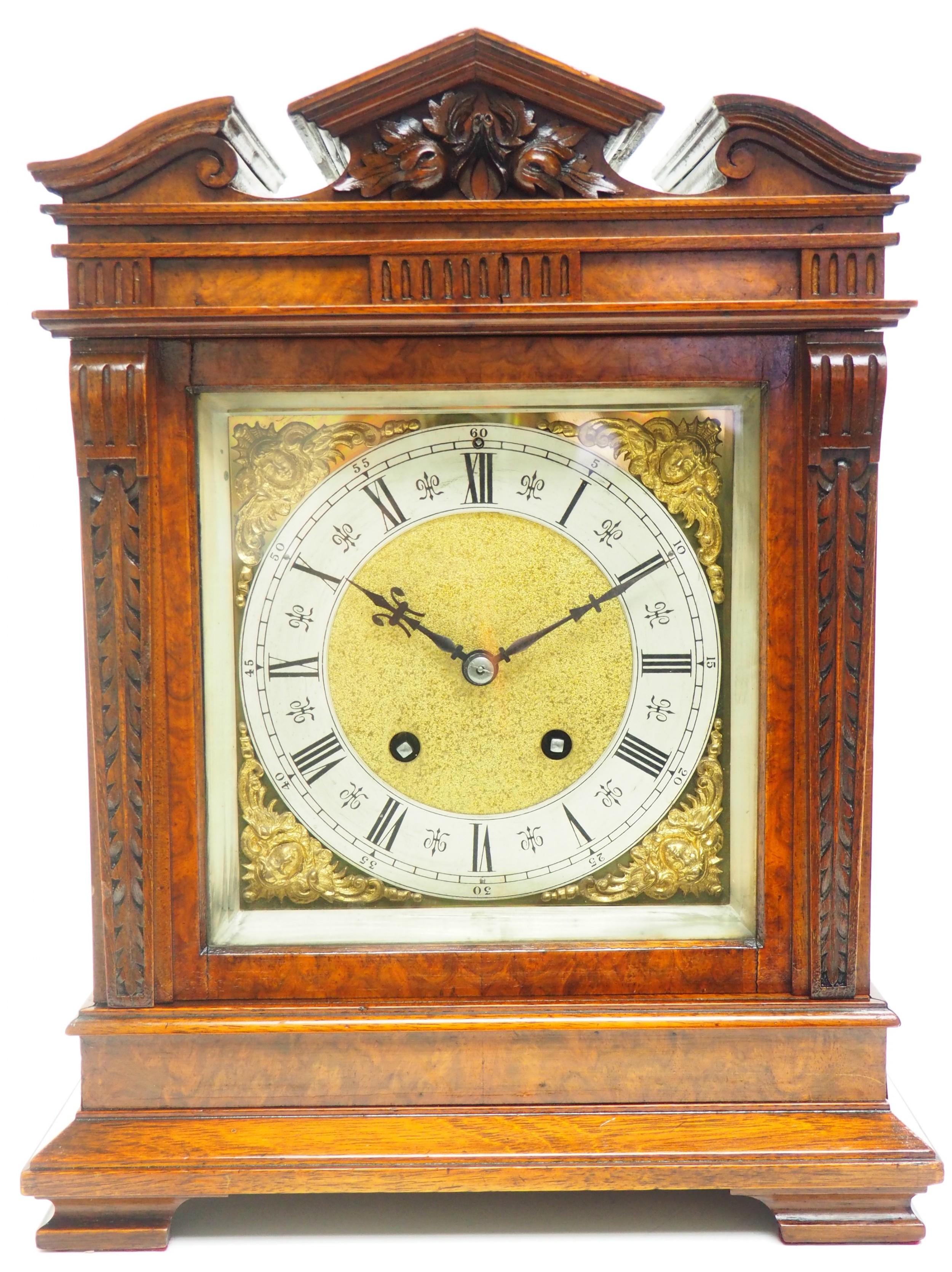 wow superb antique german burr walnut 8day mantel clock striking bracket clock by lenzkirch