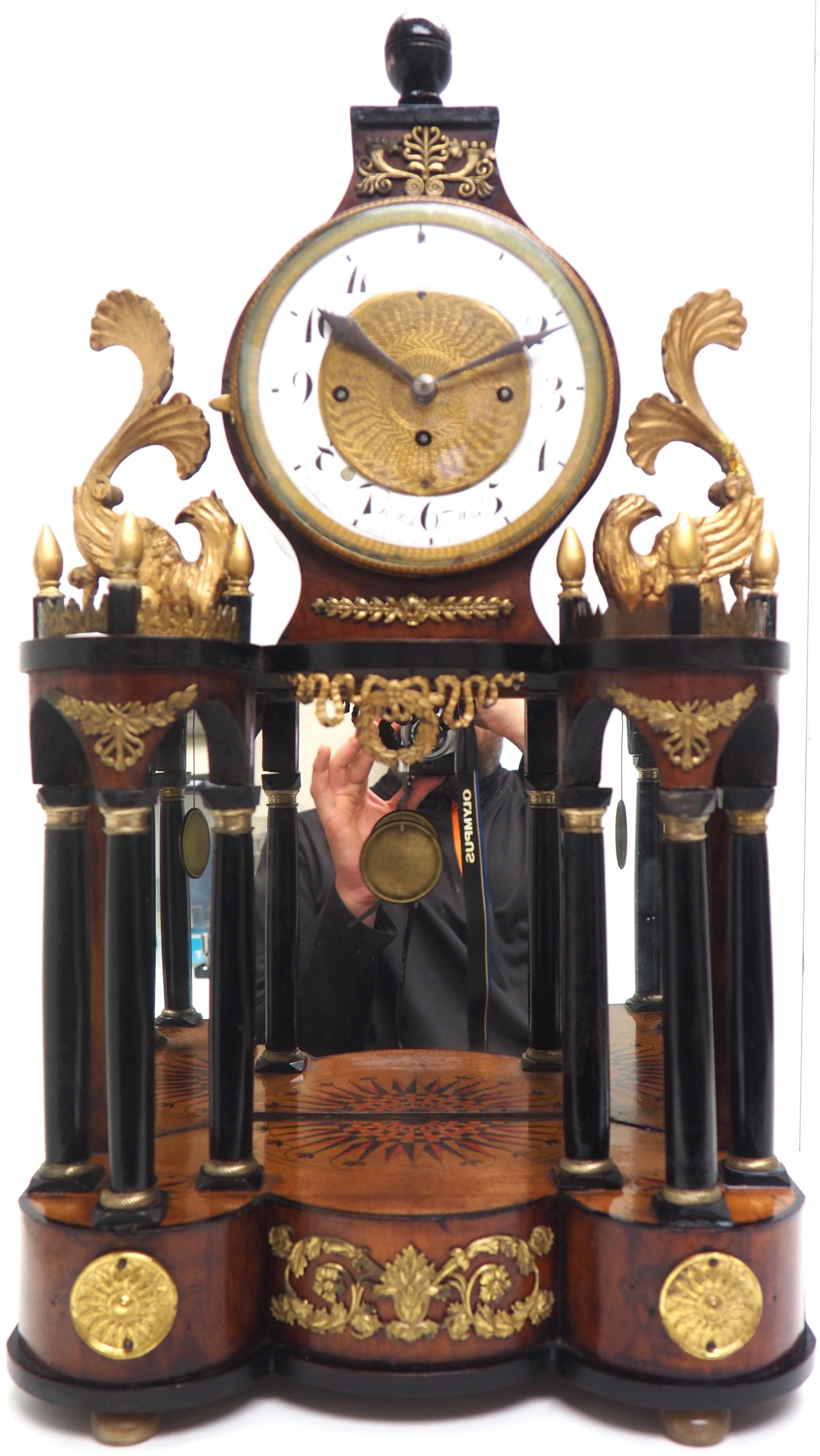 superb early viennese biedermeier grand sonnerie mantel clock striking 2 gongs signed rettich in wien