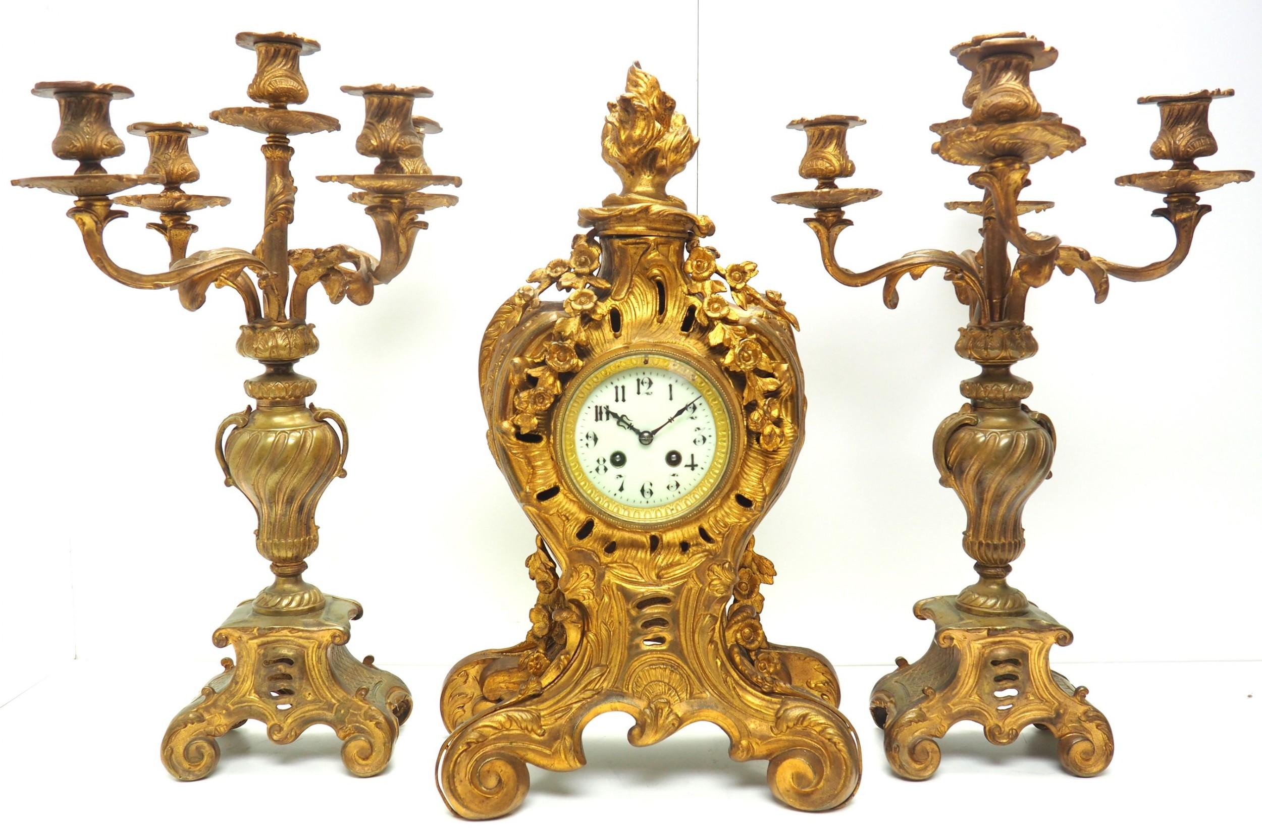 impressive candelabra clock set french rococo ormolu bronze mantel clock