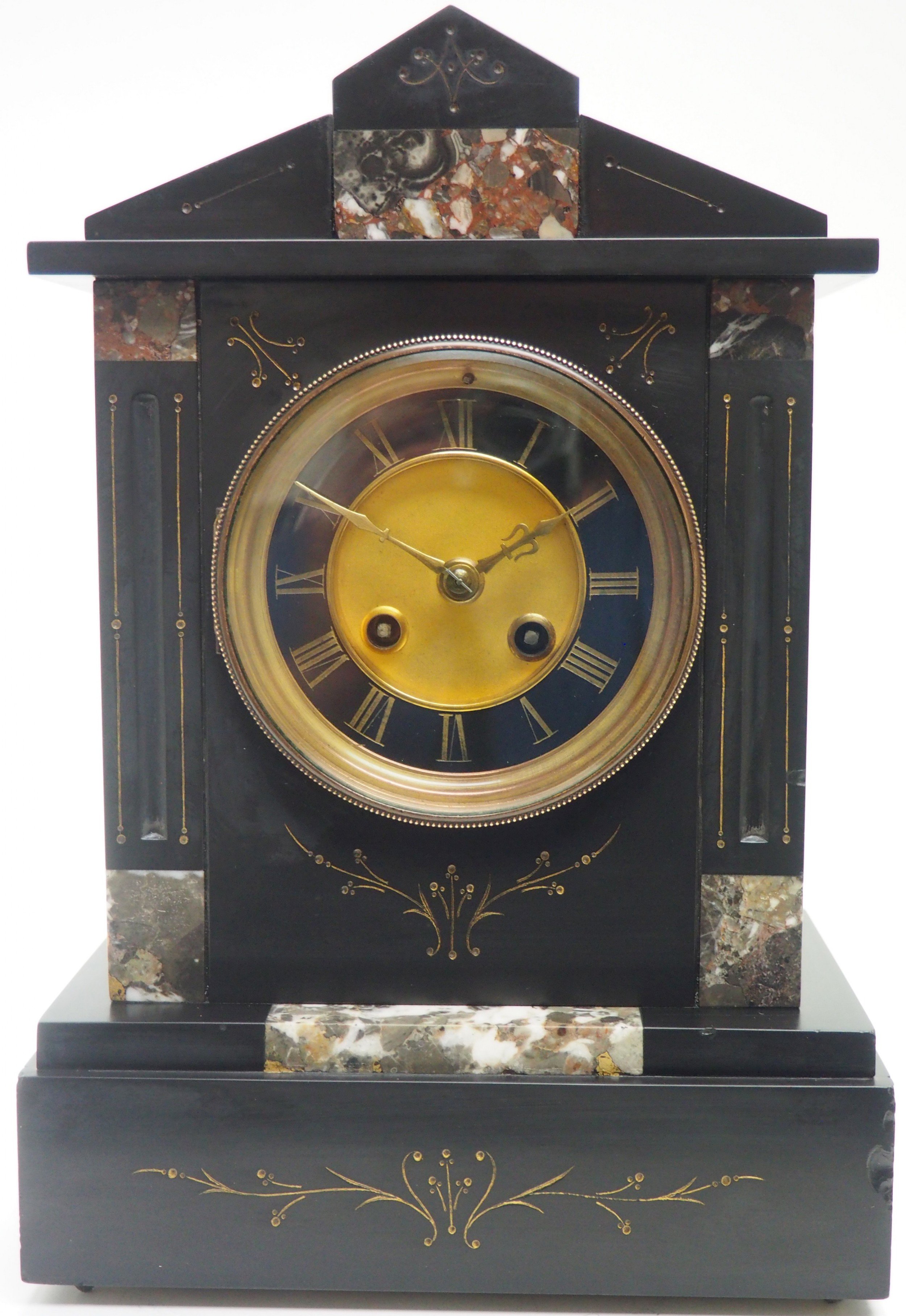 antique french slate marble mantel clock 8 day striking mantle clock