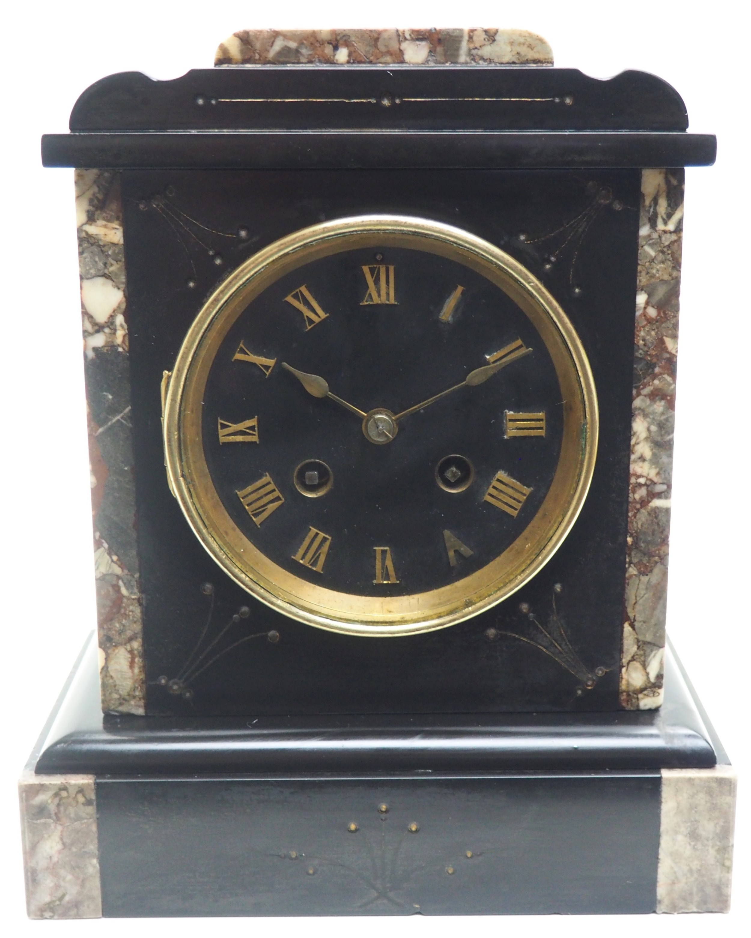 antique french slate marble mantel clock striking 8 day mantle clock