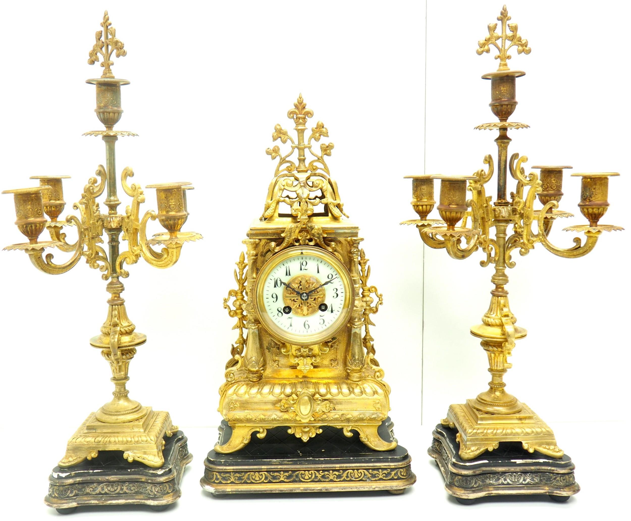 superb antique french ormolu mantel candelabra clock set embossed decoration finial 8 day striking