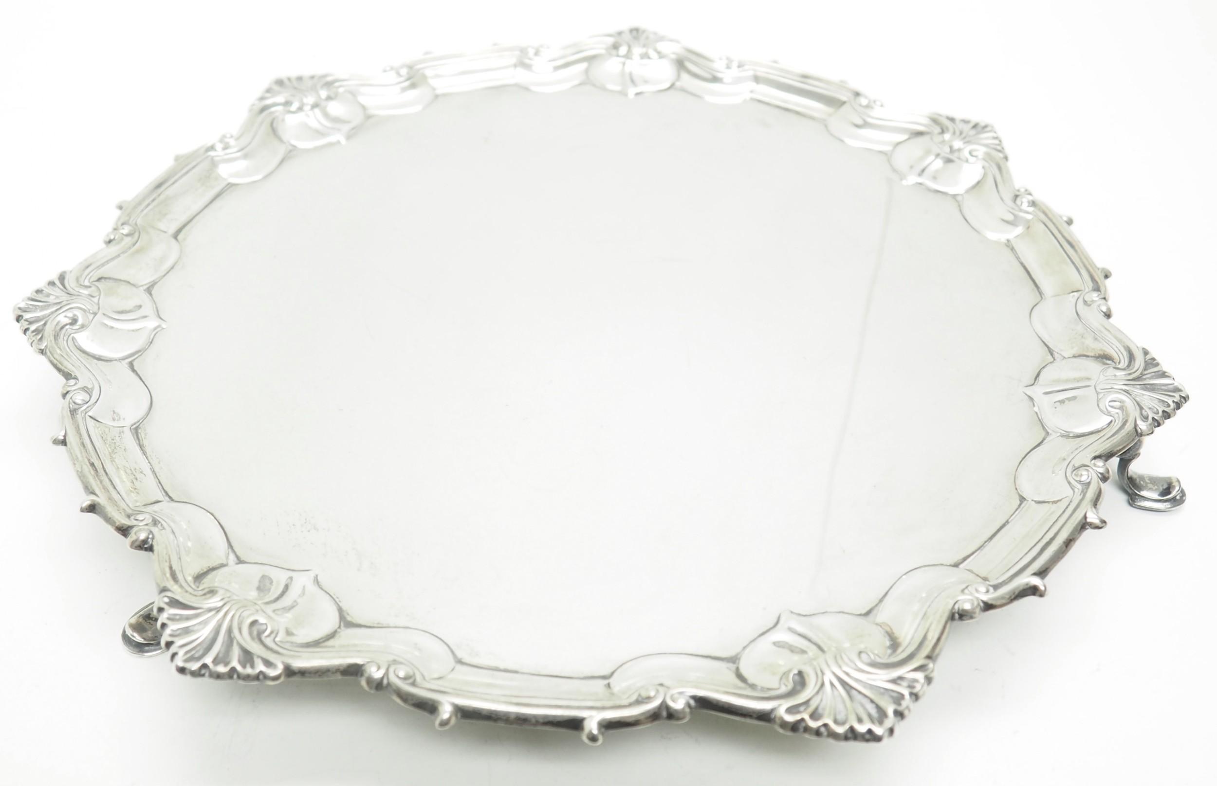 english antique solid silver salver super design fresh and clean circa 1846