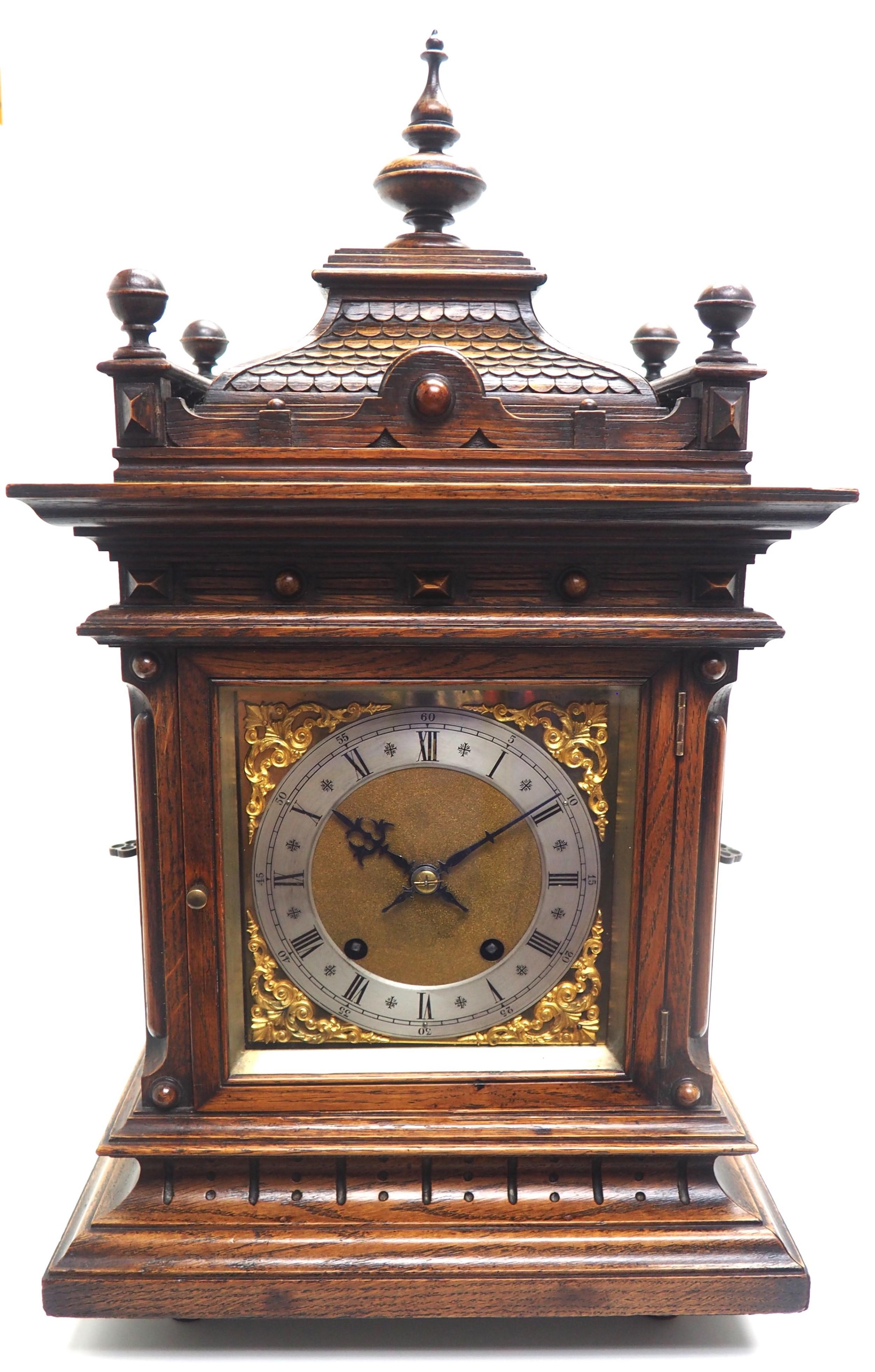 superb antique german carved oak 8day mantel clock quarter striking bracket clock by wh