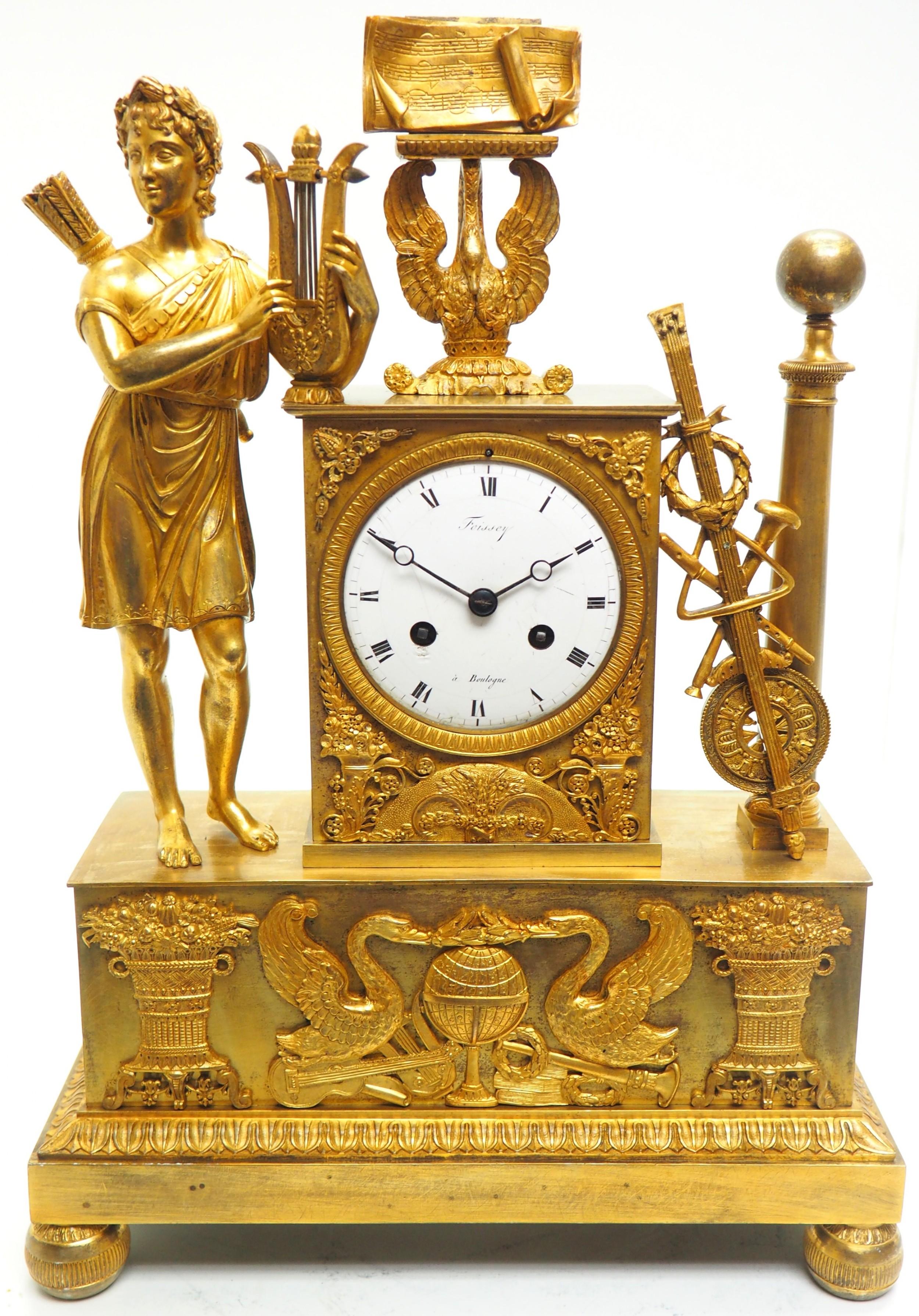 fine french empire mantel clock sought solid bronze ormolu case