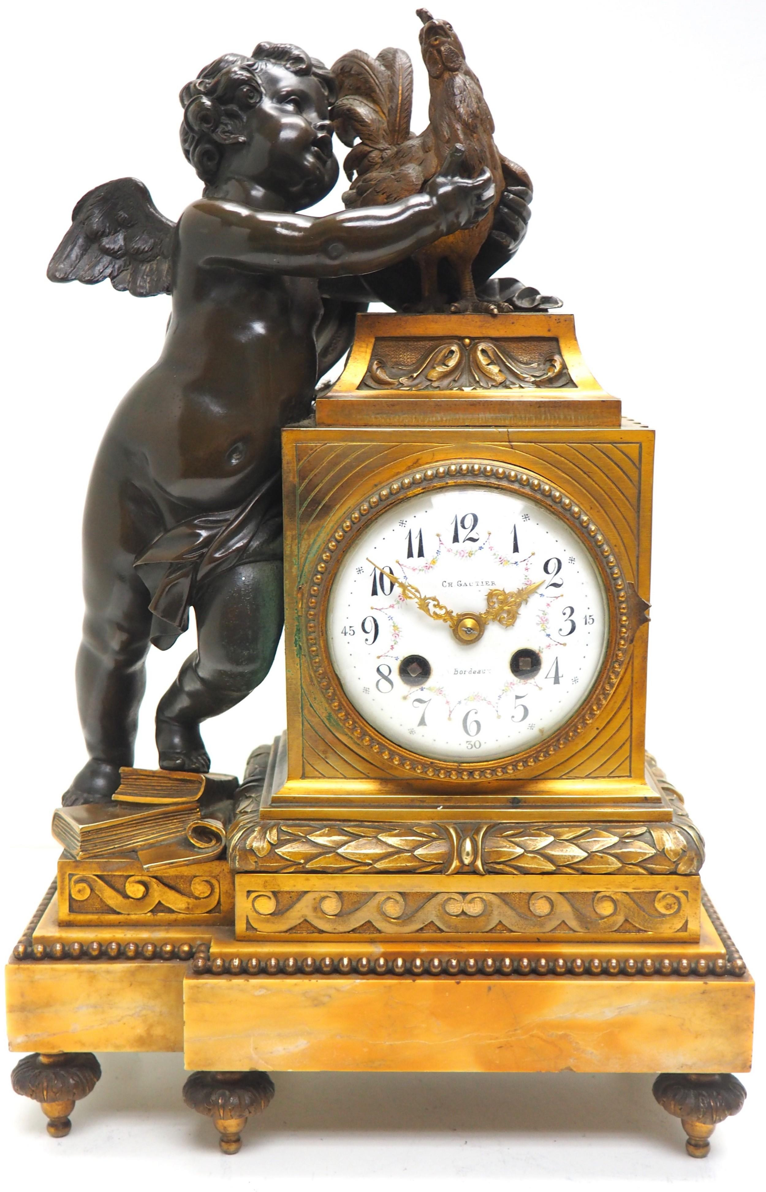 antique ormolu bronze mantel clock cherub roaster solid bronze striking 8day mantle clock by ch gautier