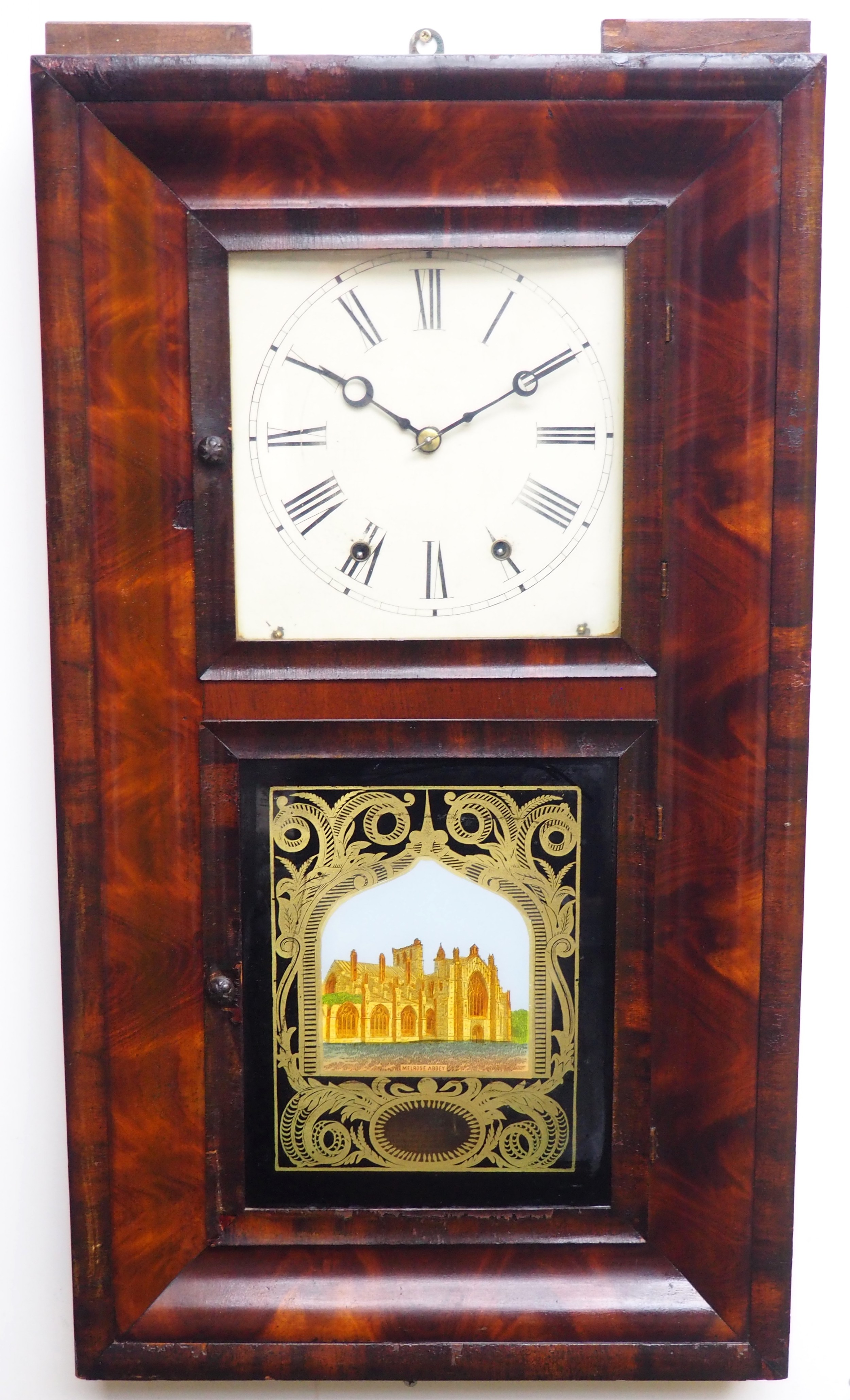 important antique american ogee wall clock weight driven striking wallmantel clock