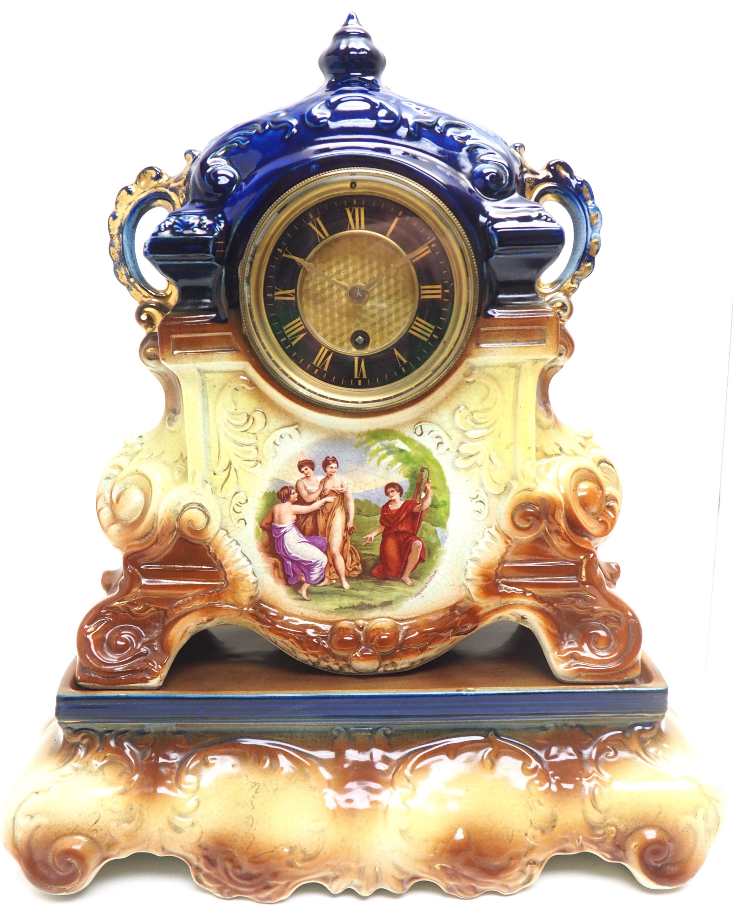 antique 8day porcelain mantel clock classical blue earth glazed french mantle clock