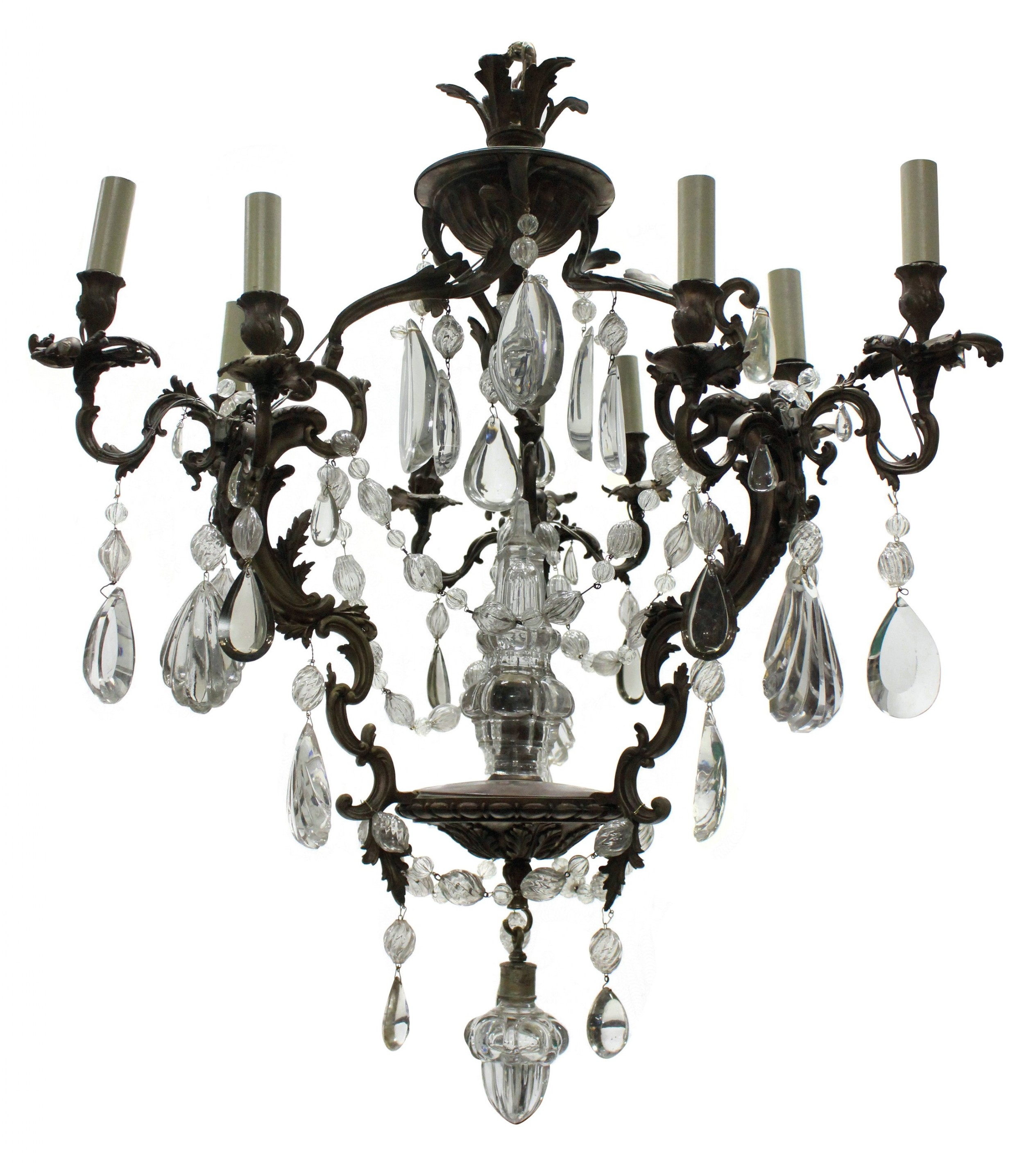 a french rococo chandelier in bronze with cut glass