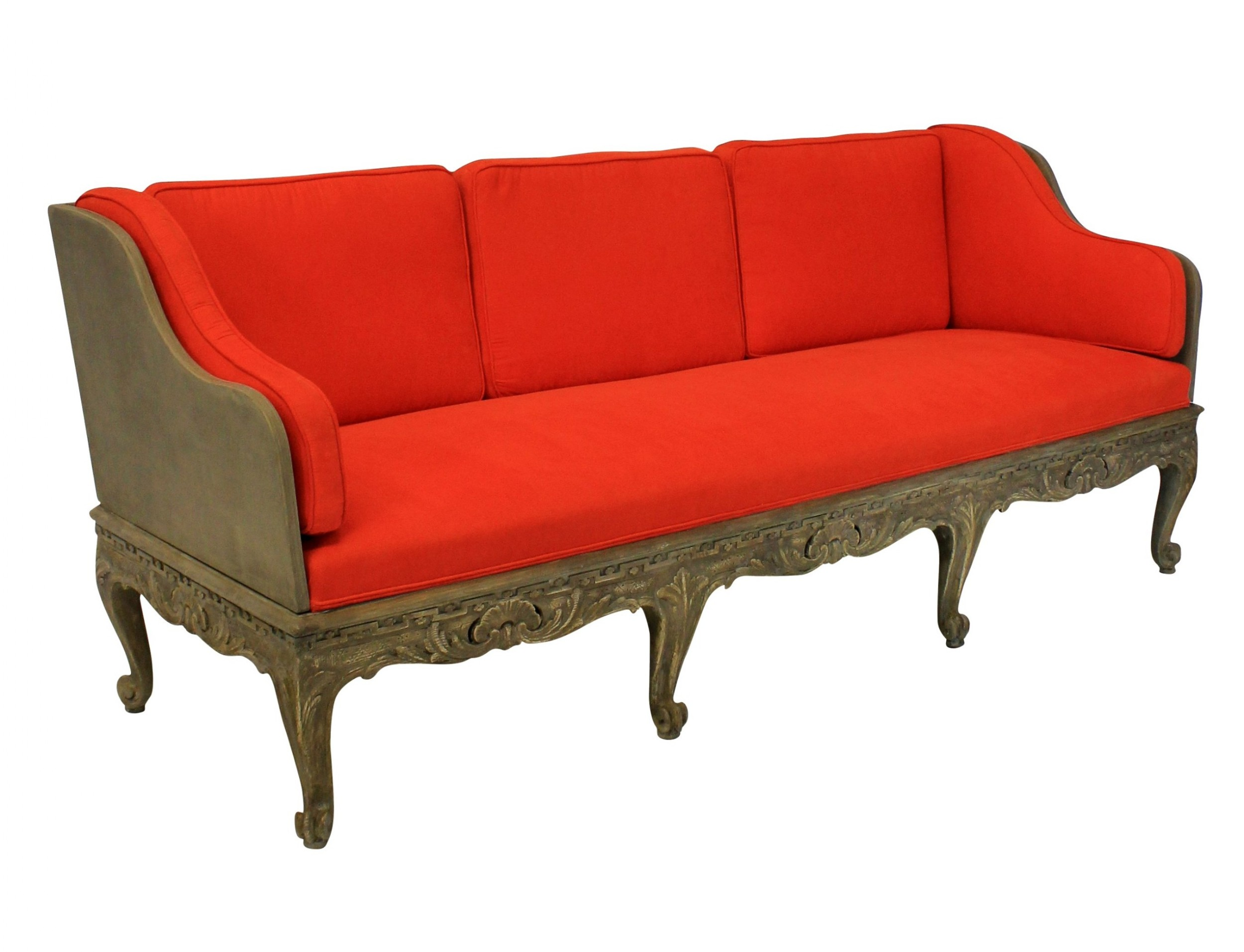 a large swedish carved and painted day bed or settee with removable back