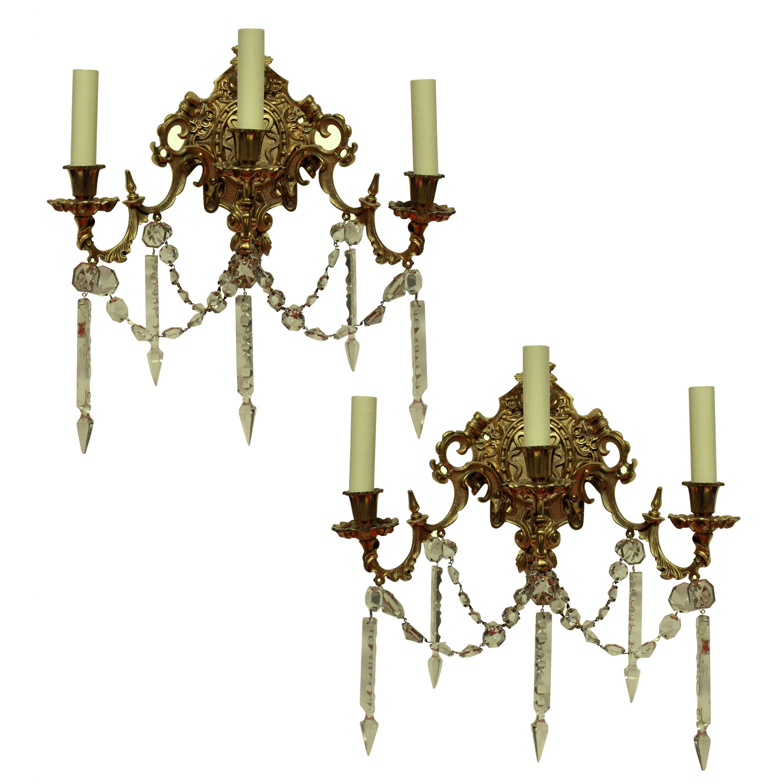 a pair of french gilt bronze cut glass wall lights