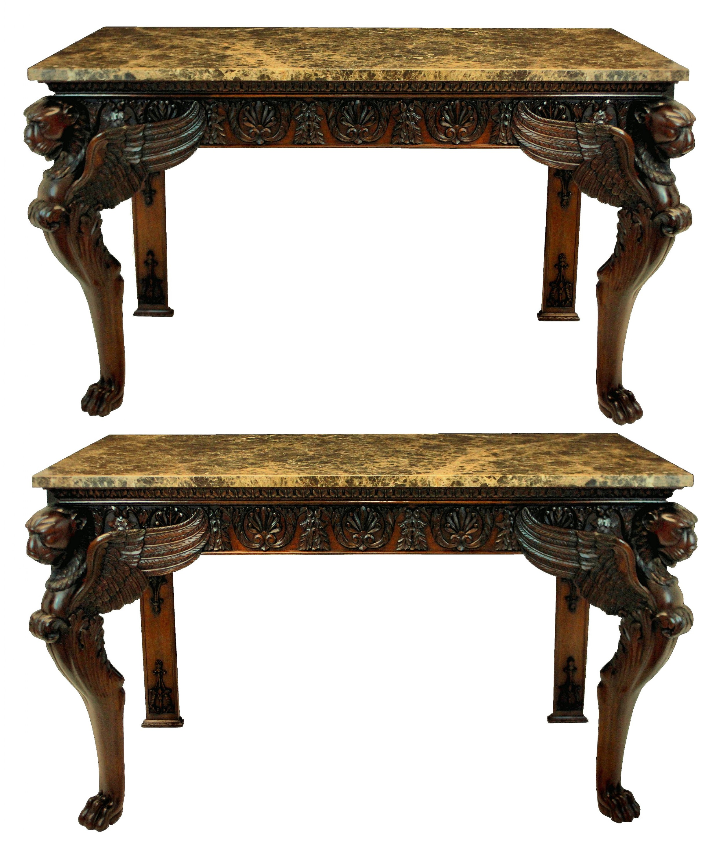 a pair of large carved mahogany adam revival consoles