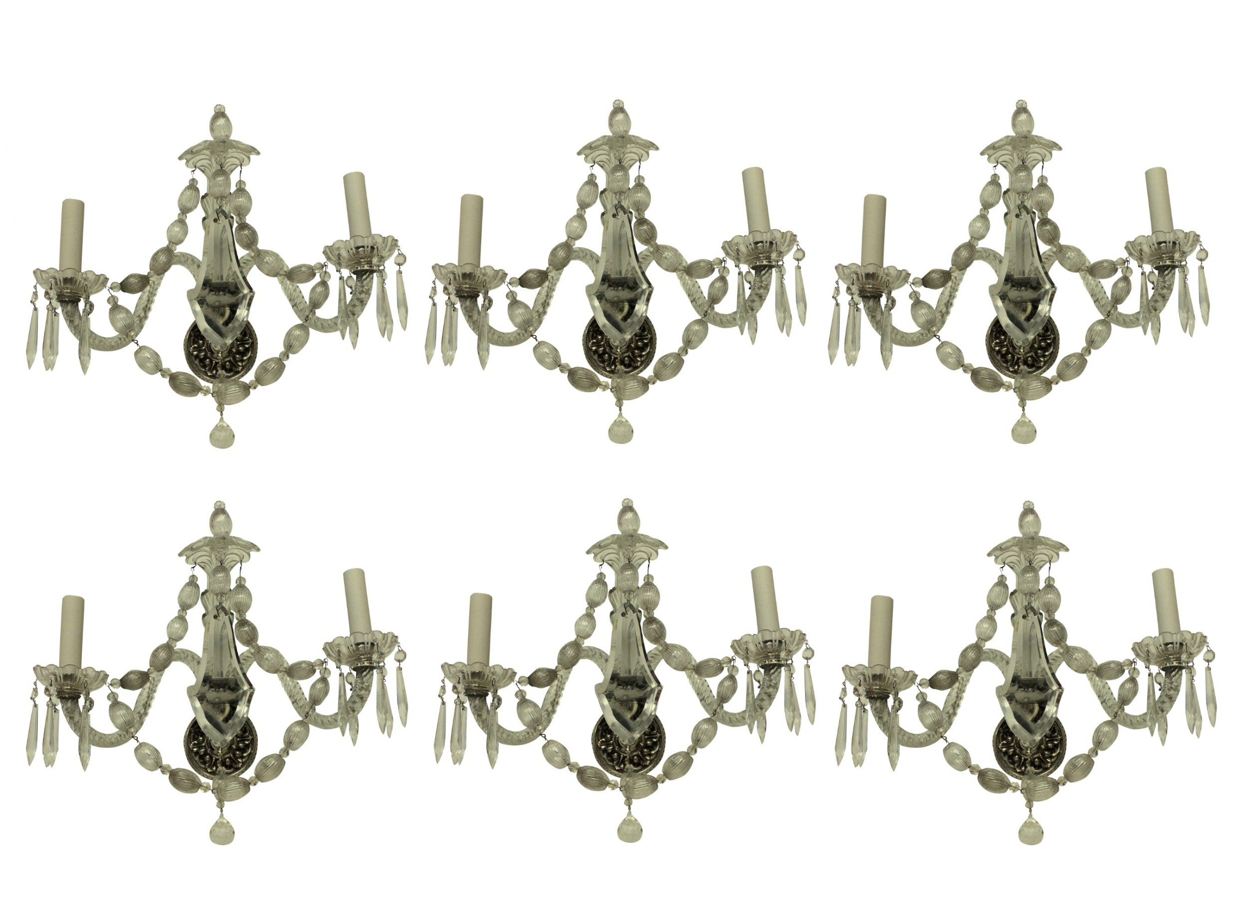 a set of six french glass wall lights