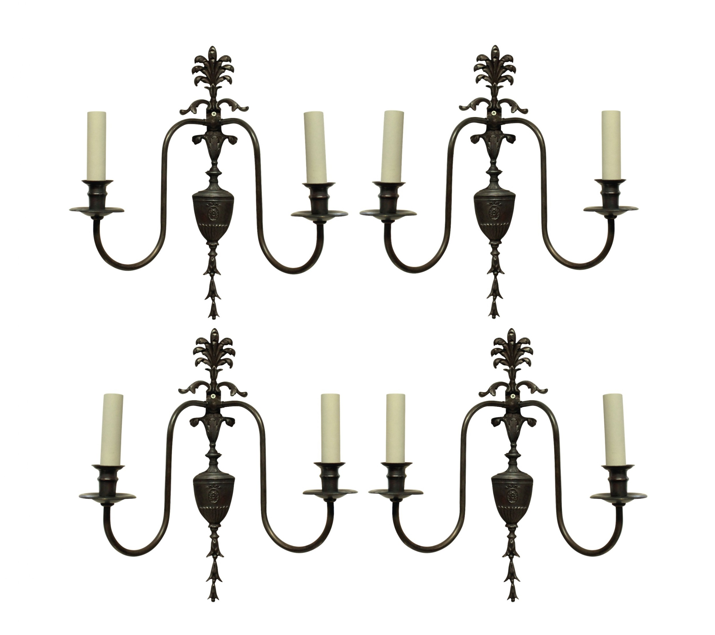 a set of four adam style twin branch wall lights