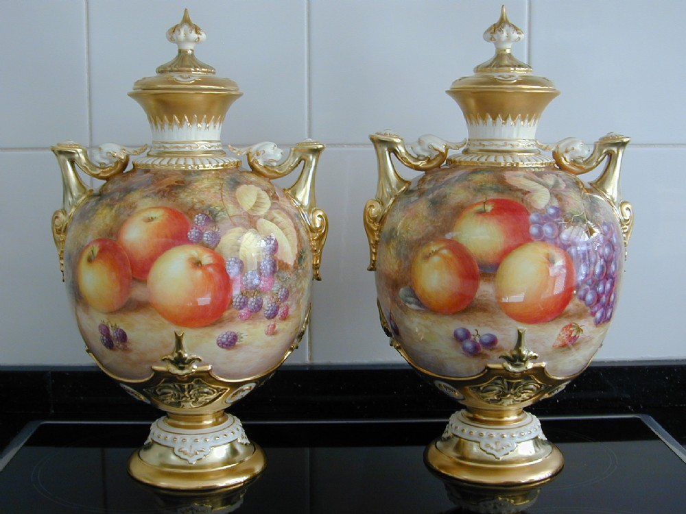 Royal Worcester Pair Of Large Fruit Painted Vases And Covers Signed