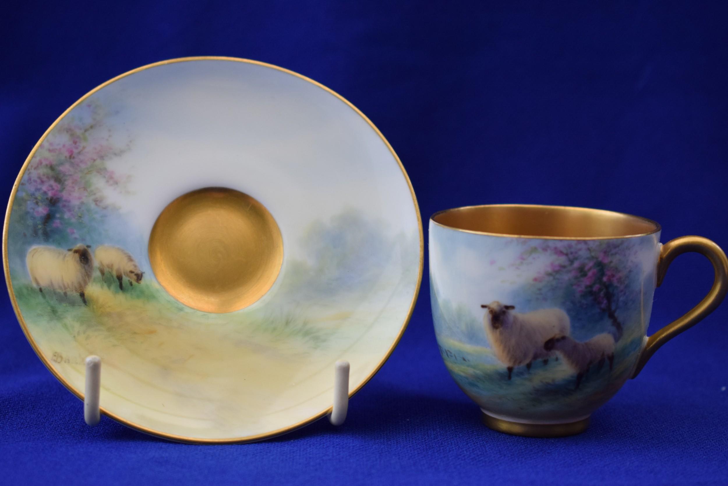 royal worcester demi tasse cup and saucer artist signed