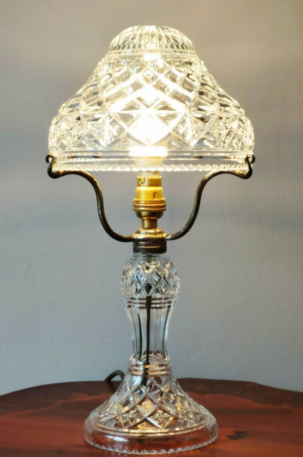 stuart crystal cut glass mushroom table lamp