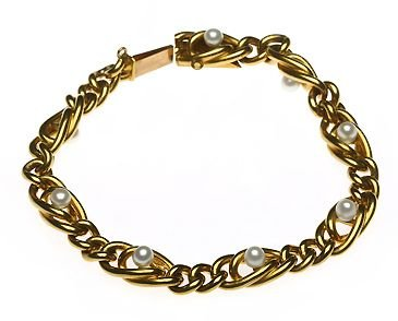 edwardian gold and natural pearl bracelet