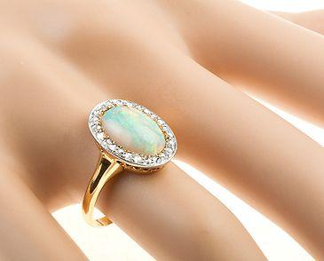 opal and rose cut diamond ring c1910