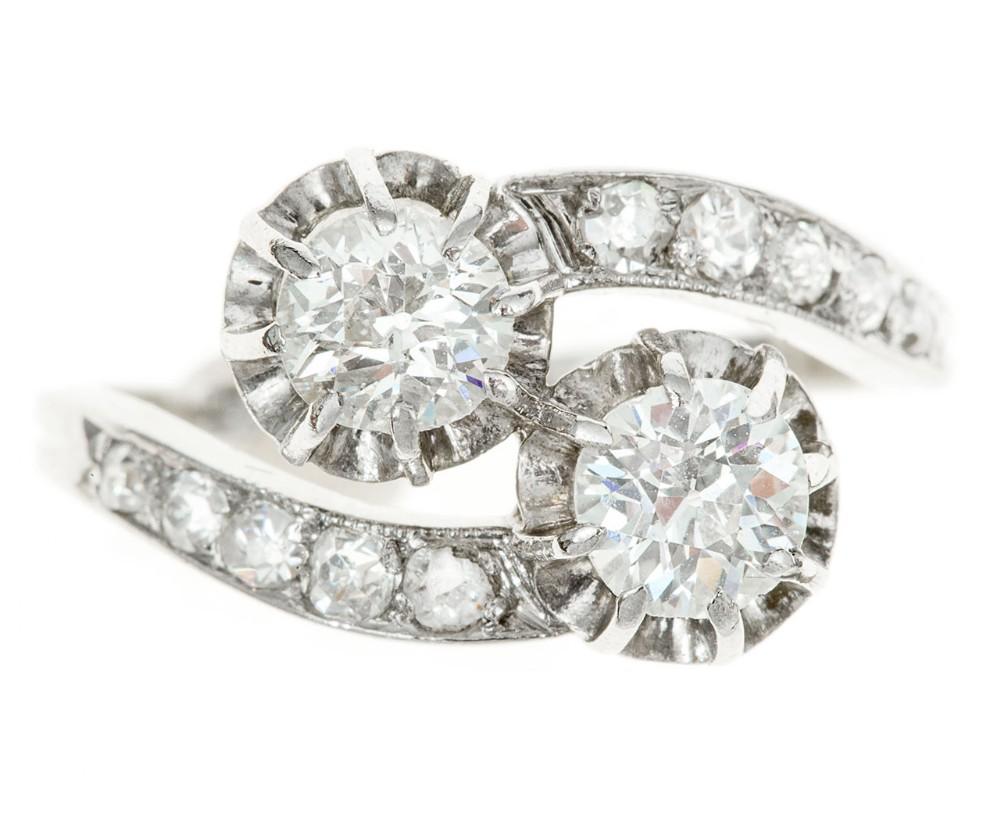 art deco 2 stone cross over diamond ring 105 carats in platinum c1925
