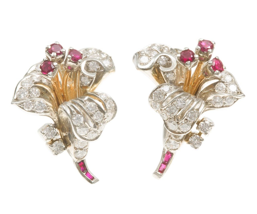 ruby diamond flower spray earrings circa 1945