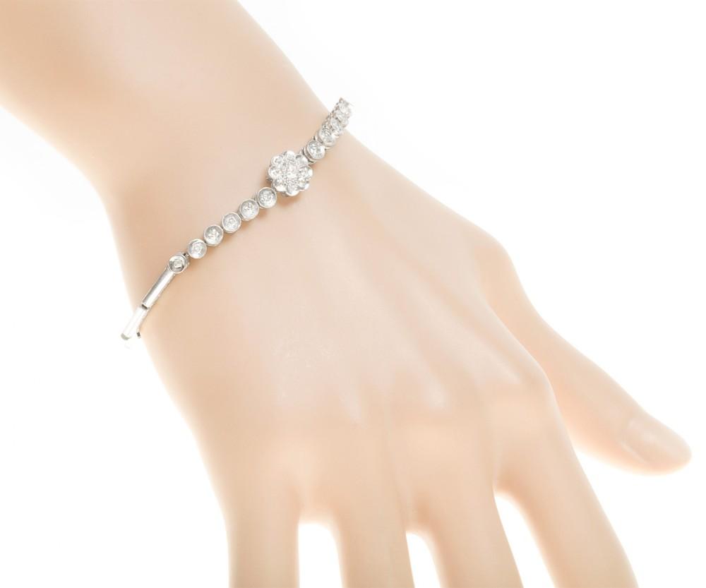 art deco diamond flower bracelet