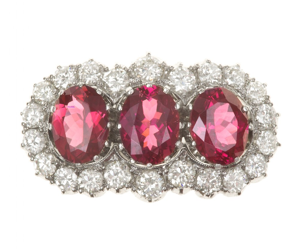 art deco pink tourmaline and diamond triple cluster ring circa 1935