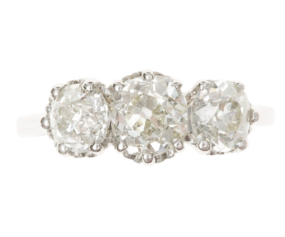 3 stone diamond ring 239 carats weighed circa 1910