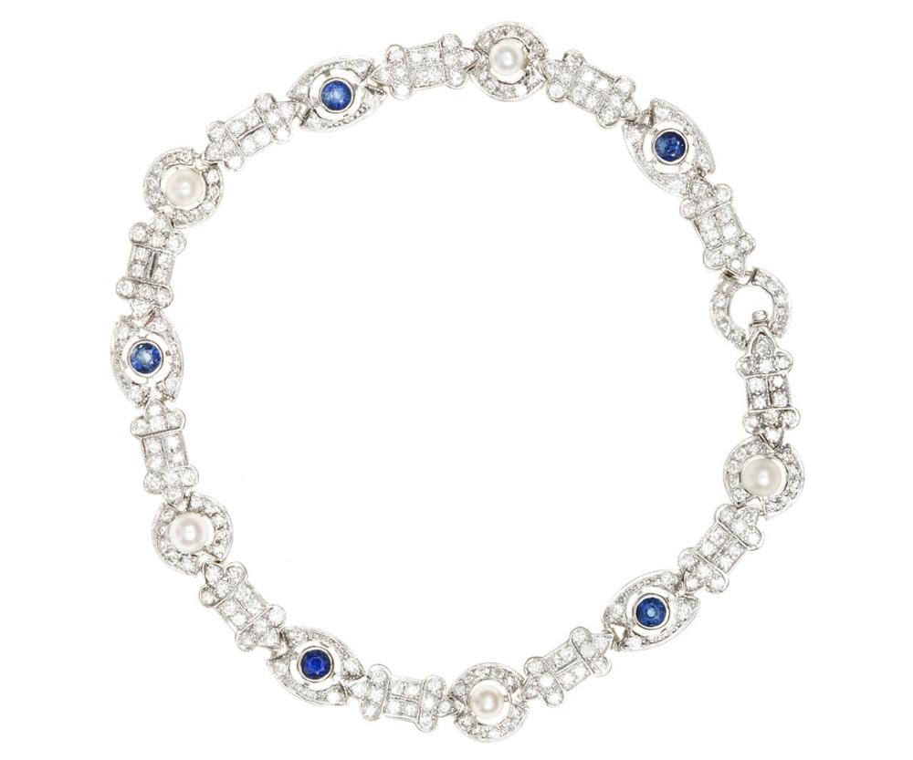 art deco sapphire pearl diamond bracelet c1925