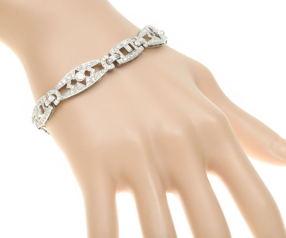 art deco diamond panel bracelet in platinum