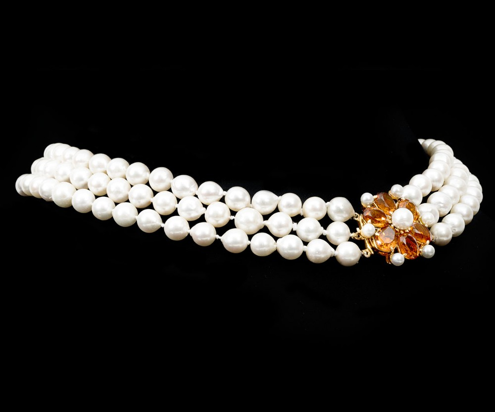cultured pearl 3 row necklace with citrine and pearl clasp