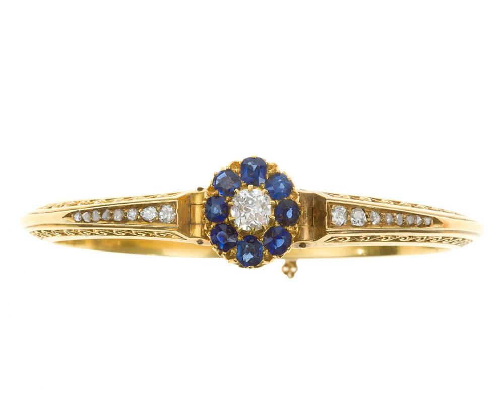 victorian sapphire diamond bangle