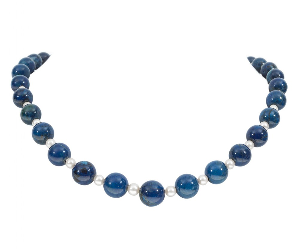 sodalite beads cultured pearl necklace