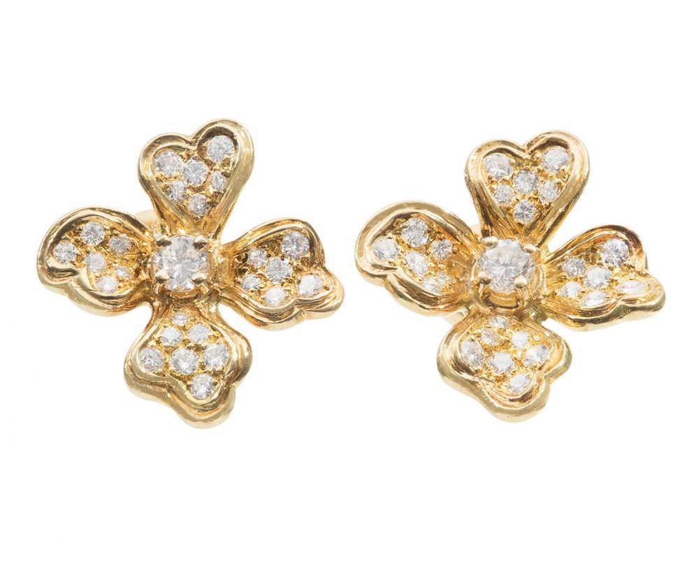 diamond flower earrings in 18 carat yellow gold