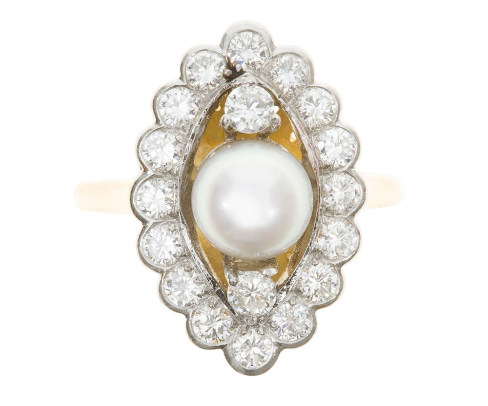pearl diamond marquise cluster ring