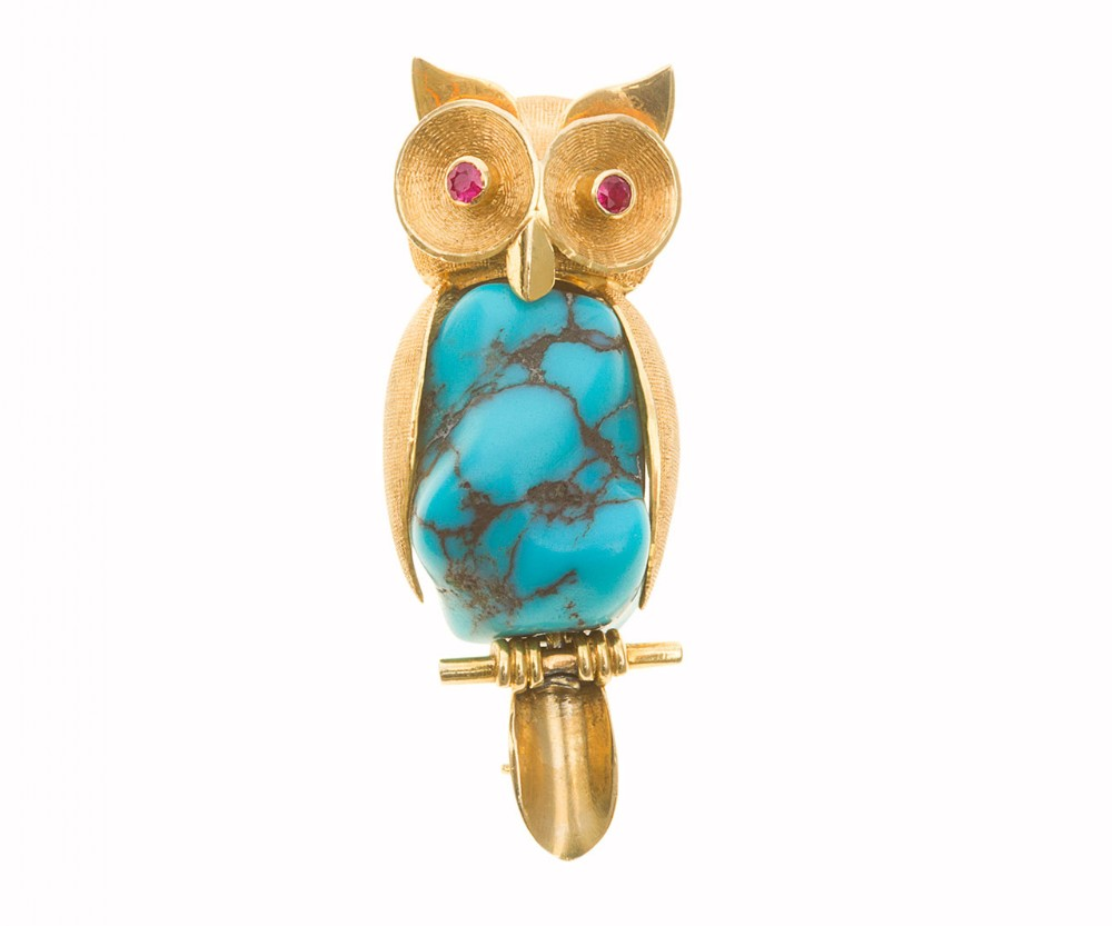 turquoise matrix and ruby owl brooch