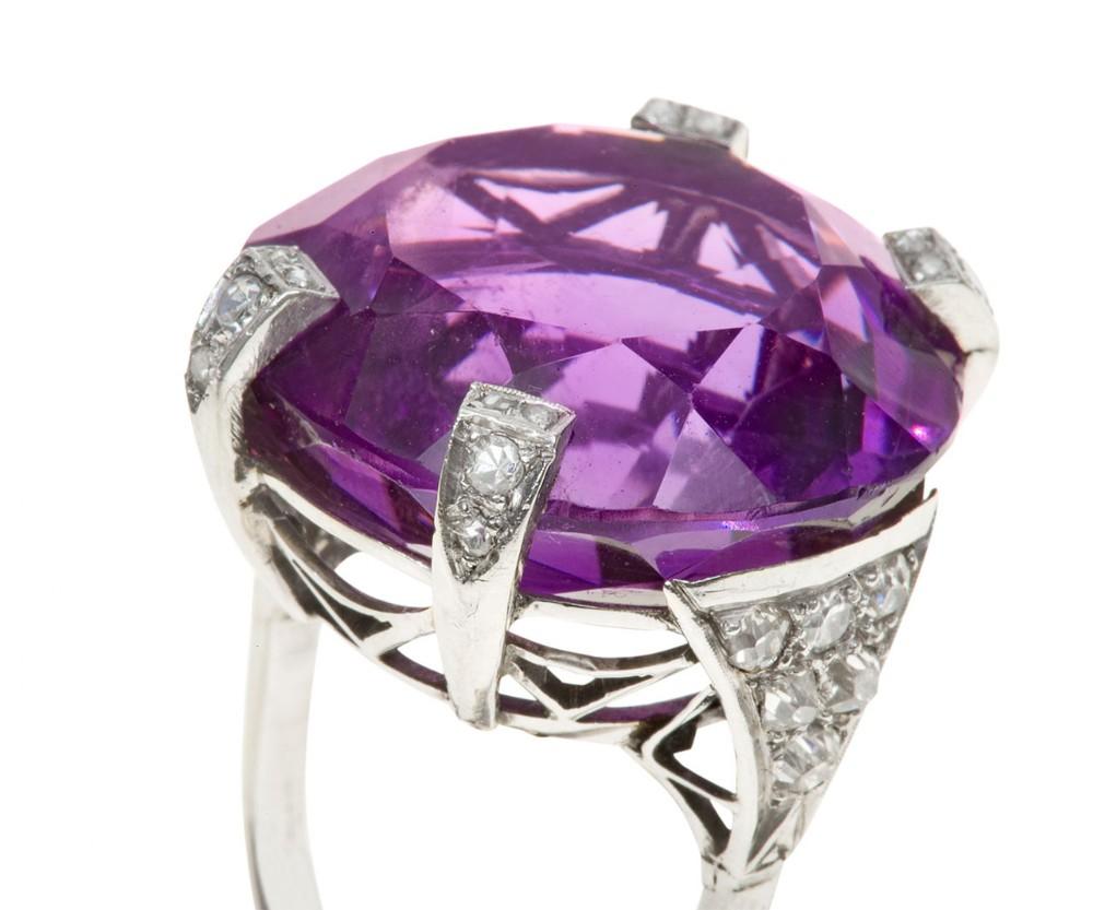 art deco amethyst diamond cocktail ring c1935