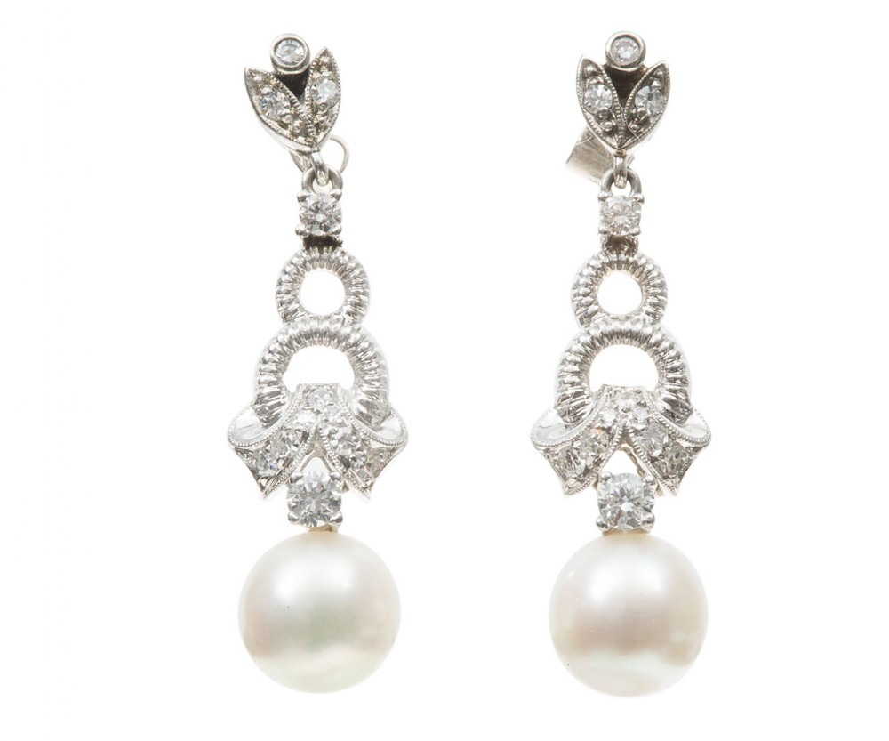 akoya pearl diamond drop earrings