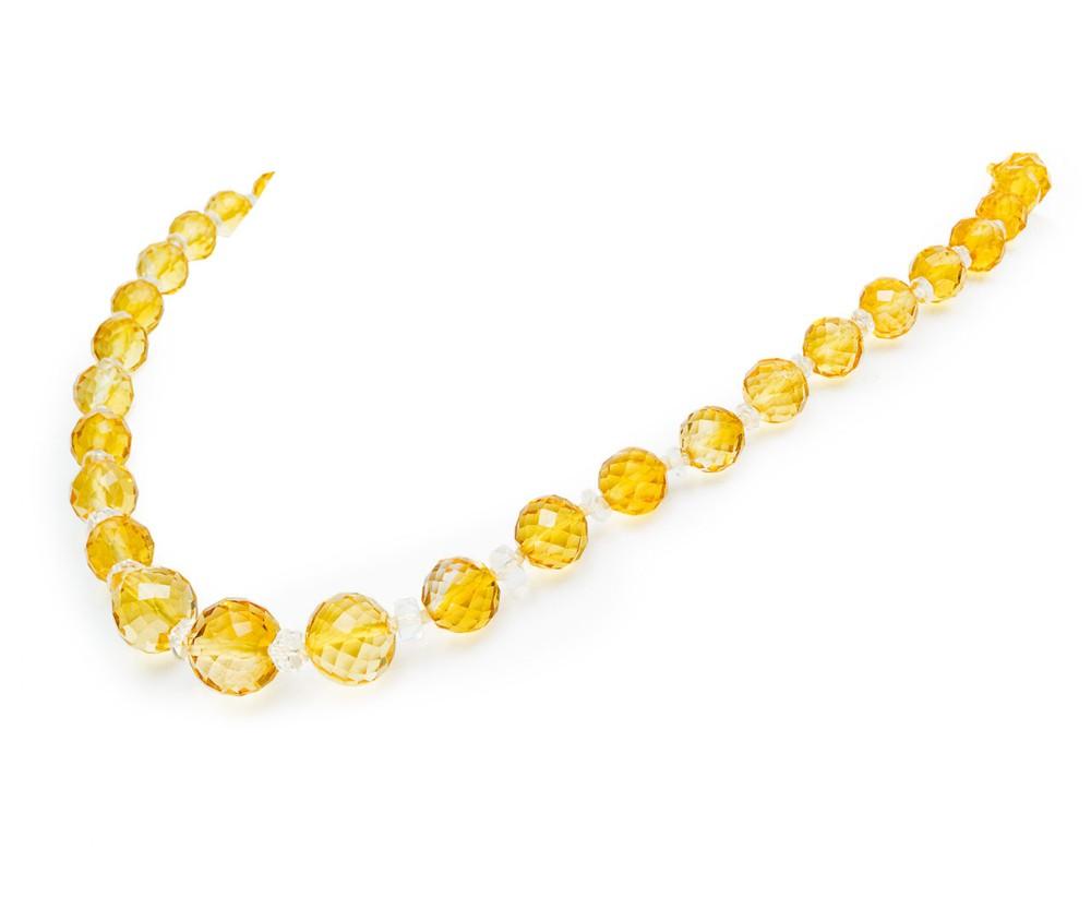 citrine rock crustal necklace circa 1910