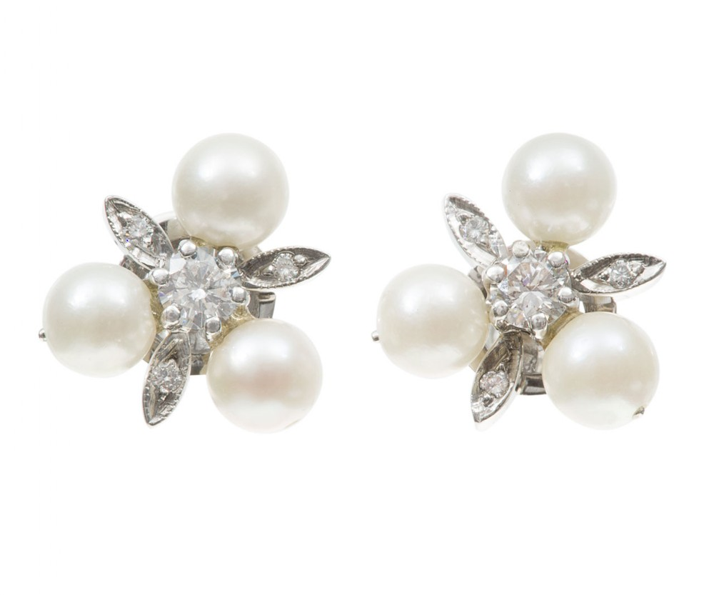 pearl diamond cluster earrings matching pendant