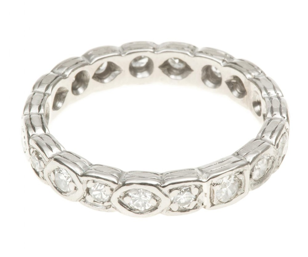art deco full diamond eternity ring