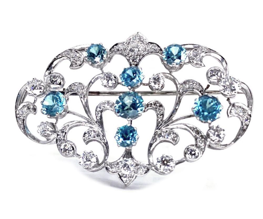 art deco natural zircon diamond brooch