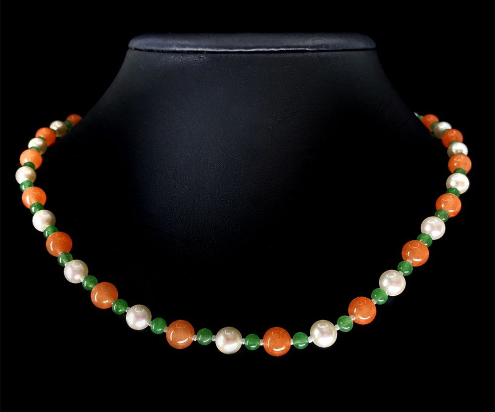 art deco orange and green jade and cultured pearl necklace