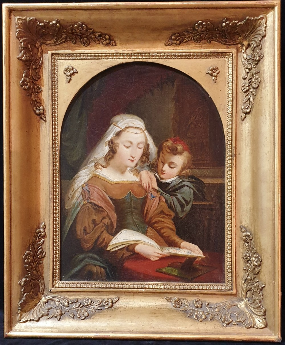 'reading the book' oil on canvas french school antique painting in original gold leaf frame