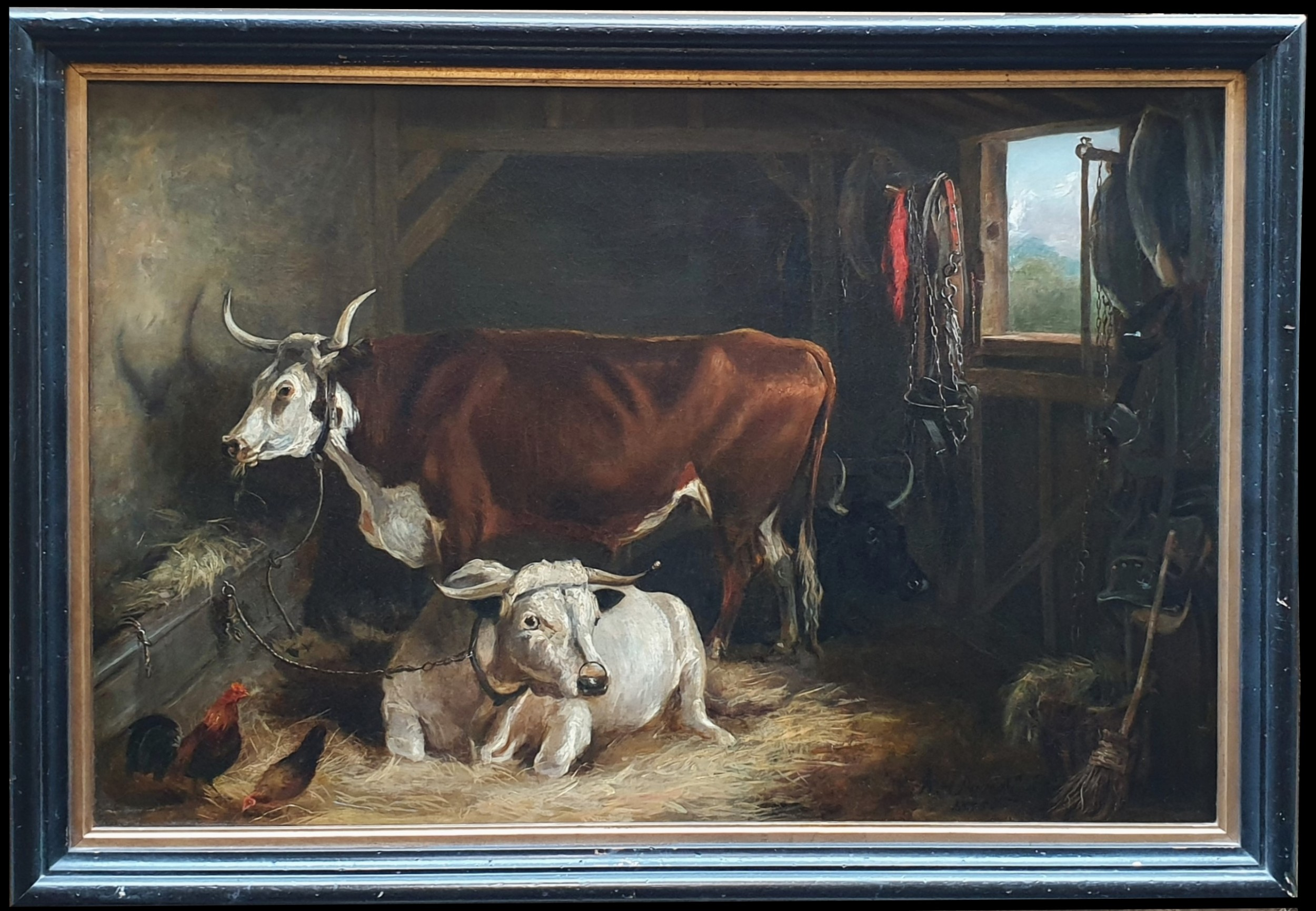 'bulls in a stable' by william henry davis oil on canvas framed signed and dated 1835